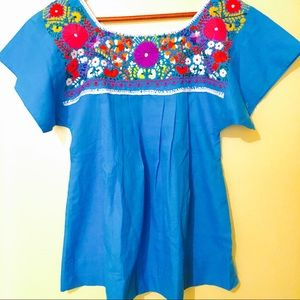 Mexican Blouse Folk Embroidered Art